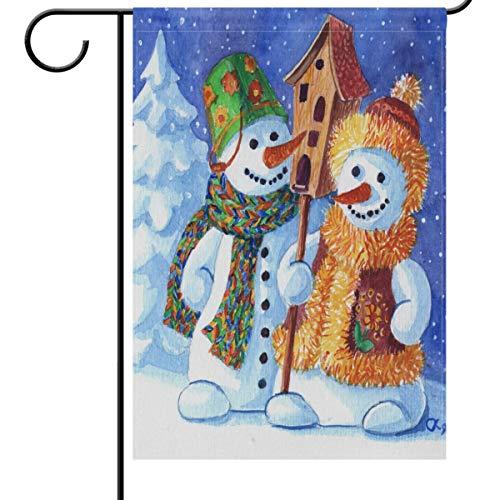 Wamika A Loving Famille de bonshommes de neige Jardin Drapeau Maison Banner 30,5 x 45,7 cm, Noël, maison d'hiver décoratifs Drapeau pour Vacances fête de mariage Yard Home Décor extérieur 28x40(in) multicolore