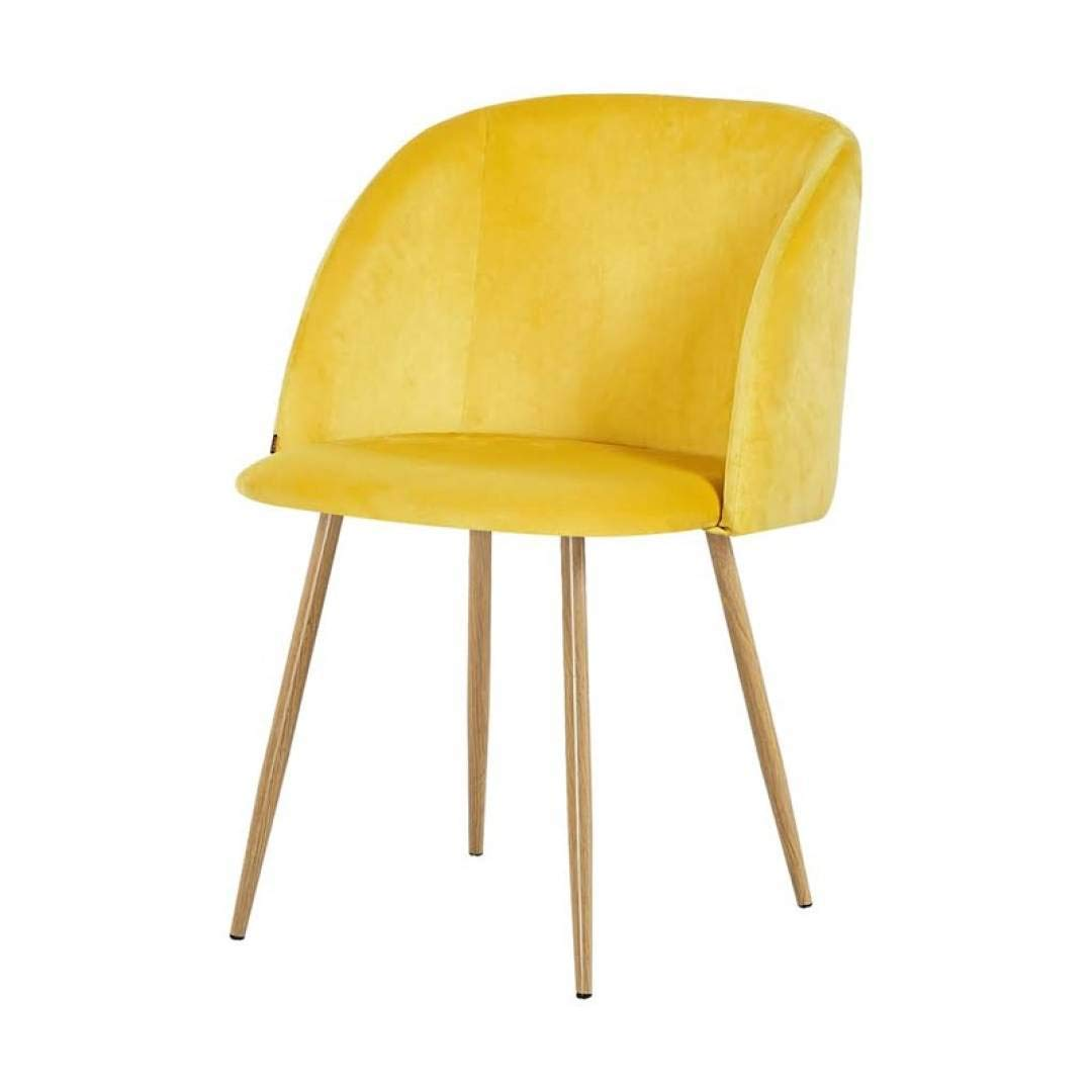 Zone XL Set di 2 sedie YPOS Macaron scandinavo in velluto giallo e piedi in metallo effetto legno