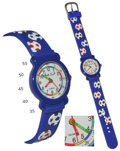 alles-meine.de GmbH 3-D Kinderuhr Fußball - Uhr Kinder Armbanduhr - mit Silikon Armband / für Jungen Fussball blau Ball bunt Sport Analog Lernuhr