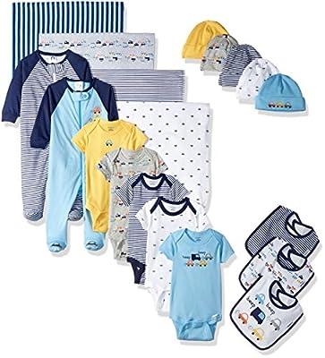 Gerber Baby Boys' 19-Piece Essentials Gift Set, Little Cars, Newborn