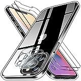 Pengkun 5 en 1 Funda para iPhone 12 Pro con 2 Cristal Templado 2 Cristal Templado para cámara Trasera Transparente Silicona TPU para iPhone 12 Pro