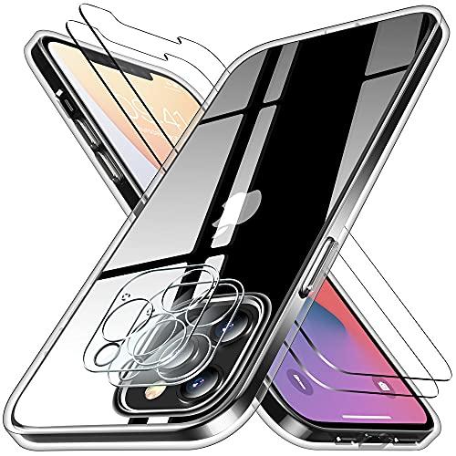 Funda para iPhone 12 Pro MAX con 2 pcs Cristal Templado y Cristal Templado para cámara Trasera Transparente Silicona TPU para iPhone 12 Pro MAX