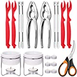 Hiware Seafood Tools Set - Crab Lobster Crackers and Picks Tools Service for 2, Includes Crab Leg Crackers, Seafood Scissors, Butter Warmers, Lobster Shellers, Crab Forks and Tealight Candles