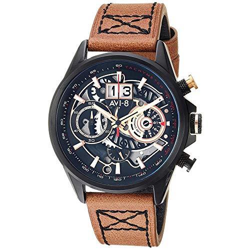 AVI-8 Men's 44mm Brown Leather Band Steel Case Quartz Black Dial Chronograph Watch AV-4065-03