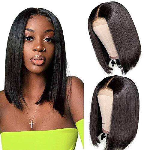 12 Inch Short Bob Wigs Human Hair Lace Closure Wigs Brazilian Virgin Human Hair Straight Bob lace Front Wigs For Black Women Pre Plucked with Baby Hair Natural Black