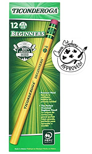 Ticonderoga Beginner Pencils, Wood-Cased #2 HB Soft, With Eraser, Yellow, 12-Pack (13308)
