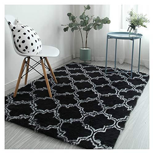 Faux bont tapijt pluche tapijt pad, Gezellige zachte pluizige omgeving tapijten voor kinderen baby slaapkamer huis Decor kinderkamer tapijten 160x200cm(5.2x6.5ft) Zwart