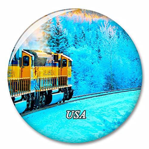 Estados Unidos América Alaska Ferrocarril Anchorage Imán de Nevera, imánes Decorativo, abridor de Botellas, Ciudad turística, Viaje, colección de Recuerdos, Regalo, Pegatina Fuerte para Nevera