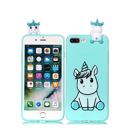 LAXIN Compatible with iPhone 8 Plus/7 Plus Case Unicorn Silicone Gel Shockproof Phone Protective Cover Slim Fit Ultra Thin TPU Lovely Case Animal Cute Protective Ultra Thin Slim Bumper Shockproof