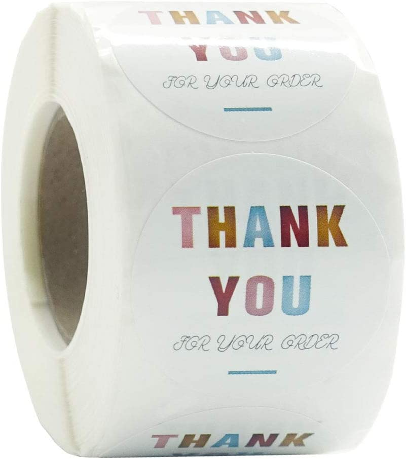Thank You Stickers Labels Roll of 500, 1.5Inch, Thank You Small Business Labels for Gifts Bags, Envelopes, Bubble mailers, Packing, Bags