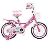 LFFME Bicicletta per Bambini da 14'16' 18'per Bambine di età Compresa tra 3 E 8 Anni con Ruote da Allenamento E Freni A Mano, Manubrio E Sedile Regolabili in Altezza,14