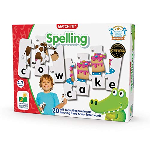 The Learning Journey: Match It  Spelling  20 Piece SelfCorrecting Spelling Puzzle for Three and Four Letter Words with Matching Images  Learning Toys for 4 Year Olds  Award Winning Toys
