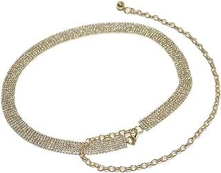 Fashion Sweet Rhinestone Inlaid Waist Chain New Ladies Luxury Metal Decorative Waist Chain (Color : Silver, Size : 120cm)