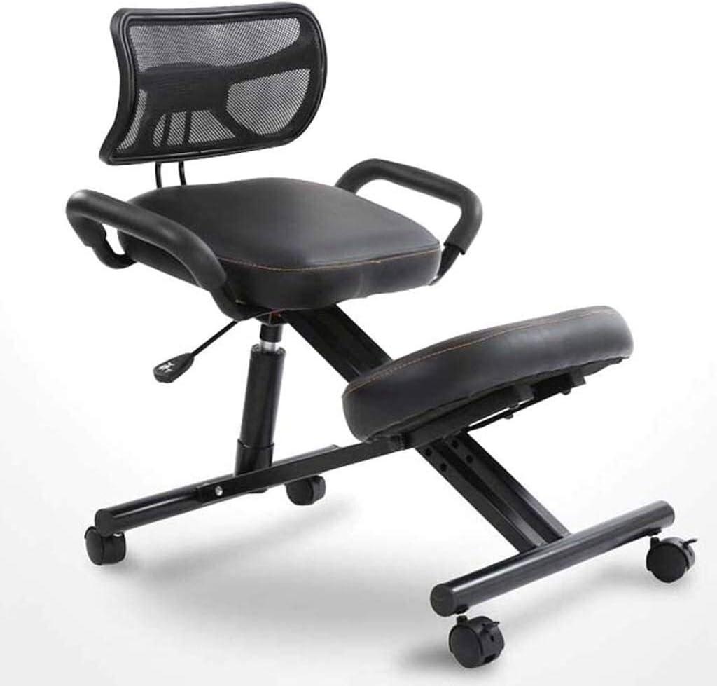 HUXIUPING Genoux Chaise Chaise de Bureau Intérieur Adulte Multifonctionnel Chaise Ergonomique Dossier for soulager la Fatigue (Color : Blue) Black