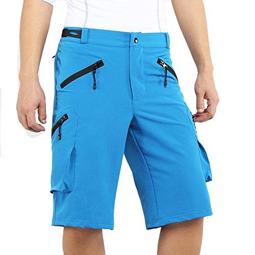 ARSUXEO Herren Outdoor Sport Loose Fit Radhose MTB Bike Shorts Taschen 1705 Blau L