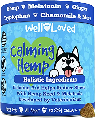 Well Loved Calming Dog Treats - Calming Chews for Dogs, Made in USA, Vet Developed, Dog Anxiety Relief, Separation, Fireworks, Travel & Stress Support, Melatonin, Natural & Holistic, 90 Calming Treats