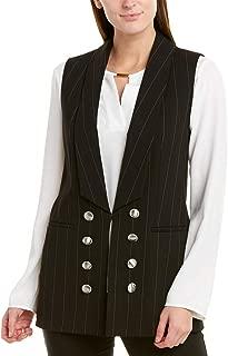 Women's Long Shawl Collar Pinstriped Vest