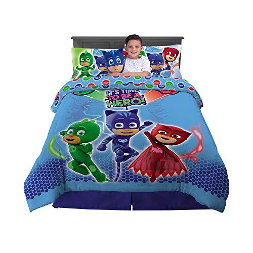 Franco Kids Bedding Super Soft Comforter with Sheets and Cuddle Pillow Bedroom Set, 6 Piece Full Size, PJ Masks