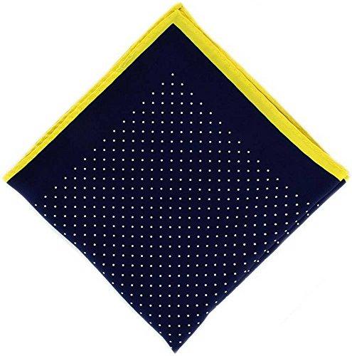 Michelsons of London Marine/Jaune Pin Dot avec mouchoir Border Soie de