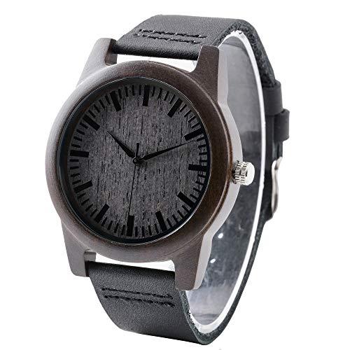 Personalisierte Holz Armbanduhr für Männer Holzuhr mit Lederband Holz Uhr für ihn Geschenk für Vater Dad Ehemann Freund