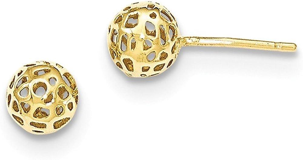 Jewels By Lux 14K Yellow Gold Fancy Ball Post Earrings