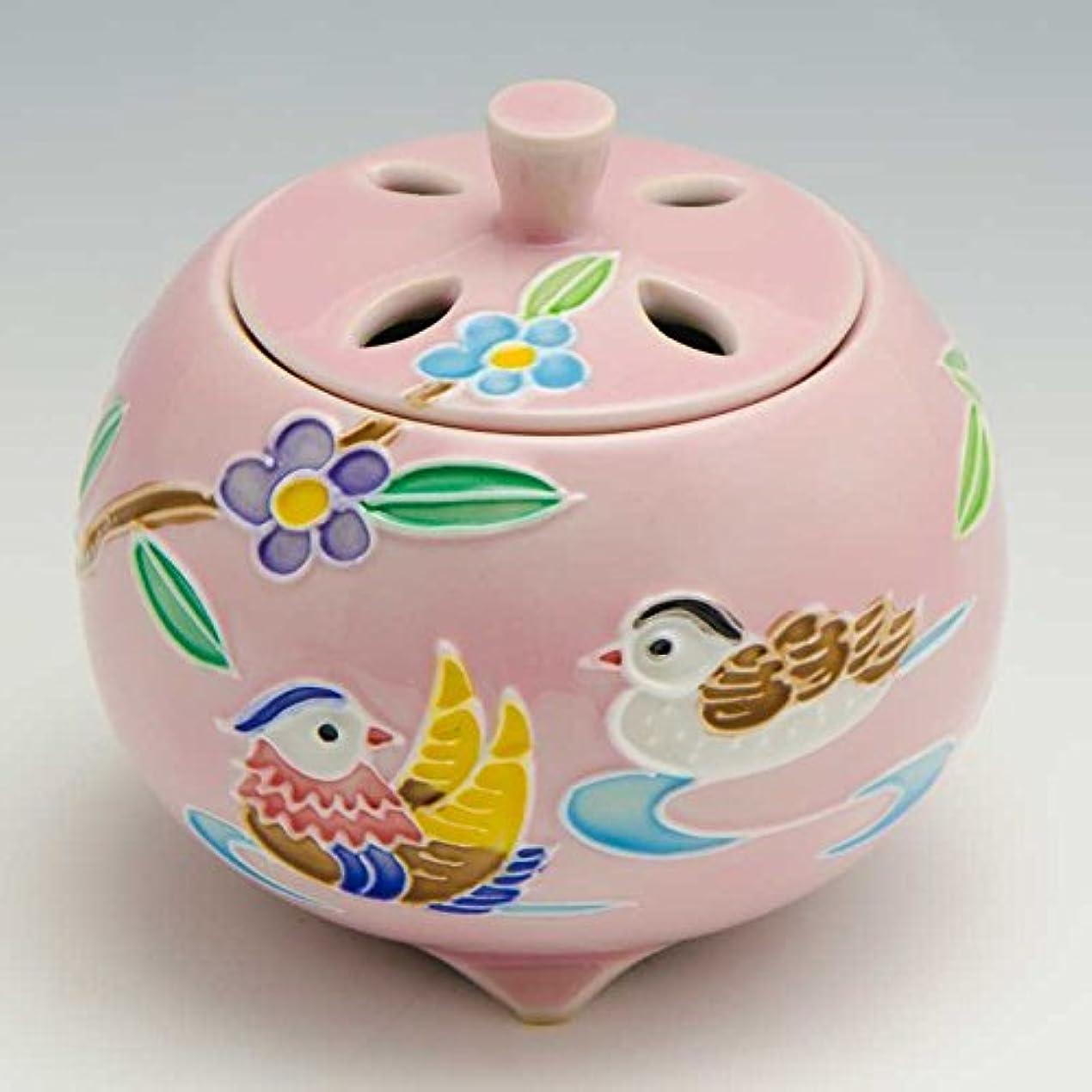 トースト実現可能性つまずく京焼 清水焼 京 焼き 京焼き 香炉 1個 木箱入 交趾おしどり(ピンク) こうちおしどり(ぴんく) YSP133