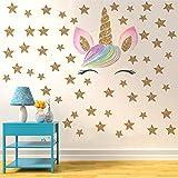 Sticker mural Bande Dessinée Fleur Licornes Bling Étoiles Papier Peint Diy Vinyle Home...