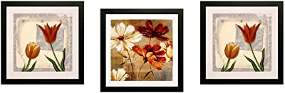 SAF Flower Textured UV Print Painting(Set of 3, 30 cm x 2 cm x 30 cm) SANFD136 SANFD136