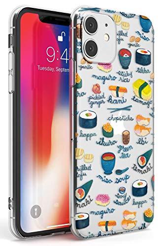Hülle Warehouse Beschriftete Japanische Küche Sushi-Mix Slim Hülle kompatibel mit iPhone 11 TPU Schutz Light Phone Tasche mit Transparent Japanisch Lebensmittel