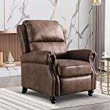 Bonzy Home Recliner Chair, Push Back Arm Chair with Rivet Decoration, Cholocate
