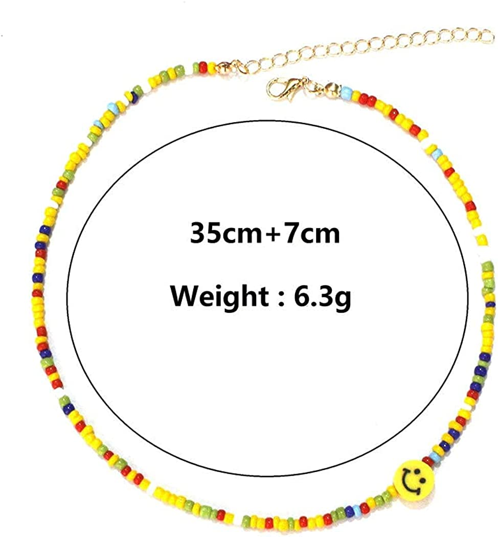 TseanYi Boho Rainbow Seed Bead Choker Necklace Short Colored Rice Beads Necklace Chain Smiley Face Collarbone Necklace Jewelry for Women and Girls