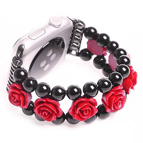JWNCOAZS Pulsera Mujer Correa de ágata Rosa Tallada para Apple Watch Band Series 5 4 3 Correa de muñeca elástica para iWatch 40/44/38/42 mm Enlace 40 mm Negro Rojo