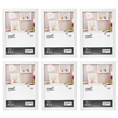 Ikea Fiskbo - Marco de fotos (tamaño A4, 21 x 30 cm, 6 unidades), color blanco, Cartón, Tablero de fibras, láminas, plástico poliestireno, pintura acrílica, Blanco, 21x30cm