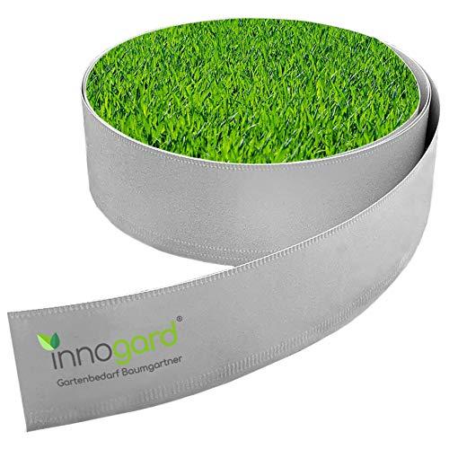 innogard Rasenkantenband Höhe 20 cm Länge wählbar mit Schutzkante Rasenkante Metall Alu/Zink Beeteinfassungen (Höhe: 20 cm, Länge: 10 m)