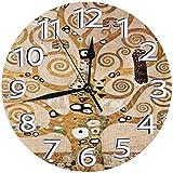 時計 壁掛け時計アナログクロックインテリア円形 静音 グスタフ・クリムト生命の木ストクレット・フリーズ印刷 掛置兼用フラットフェイス 家寝室居間 直径25cm 部屋装飾