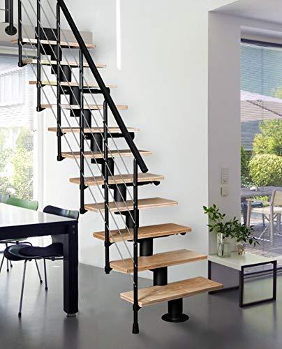Systemtreppe ATRIUM Dixi, schwarz, Geschosshöhe 222-300 cm, mit 70 cm Holzstufen in Buche natur
