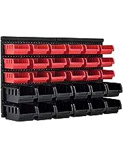 [en.casa] Estantería de Bricolaje para Pared 410 x 640 x 175 mm 32 Piezas Cajas apilables Organizador de Herramientas Portaherramientas para Guardar Sistema de cajones Negro y Rojo