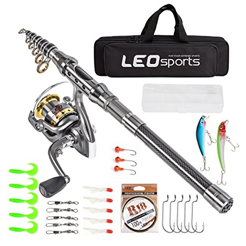 Leo Telescopic Fishing Rod and Reel Combos with Full Kids and Carrier Bag Carbon Fiber Fishing Pole for Travel Saltwater Freshwater Fishing (Fishing Full Kits with Carrier Case, 2.1m / 6.89 ft)