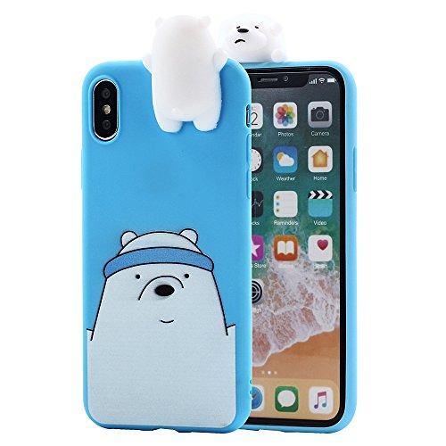 iPhone X Case, Umiko(TM) 3D Cartoon Animals Super Cute Funny We Bare Bears Ice Polar Bear Soft Silicone Case Skin for Apple iPhone X iPhone 10 (2017) Kid, Blue