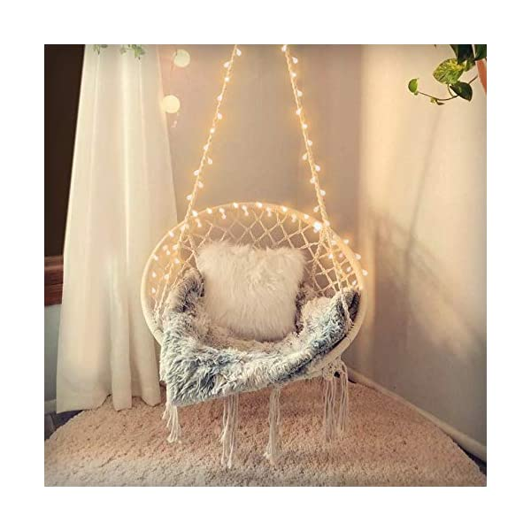 SURPCOS Hammock Chair with Lights and Durable Hanging Hardware Kit, Exquisite Round...