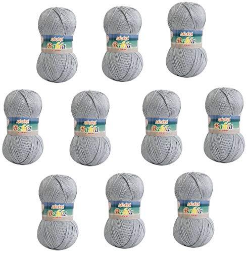 Pelote Laine à Tricoter Crochet Tricot Torrijo BAHIA 80g, Fil pour Crochet de Laine Acrylique Douce, Résistant et Durable pour les Débutants   Lot de 10 Pelotes, Couleur 2439-GRIS ARGENT