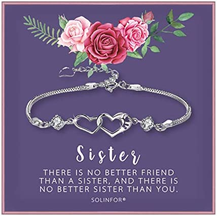 SOLINFOR Sister Bracelet Sterling Silver Jewelry with Gift Wrapping Card Sister Gifts from Sister product image