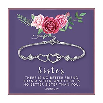 SOLINFOR Sister Bracelet - Sterling Silver Jewelry with Gift Wrapping Card - Sister Gifts from Sister - Two Interlocking Hearts Bracelet for Women