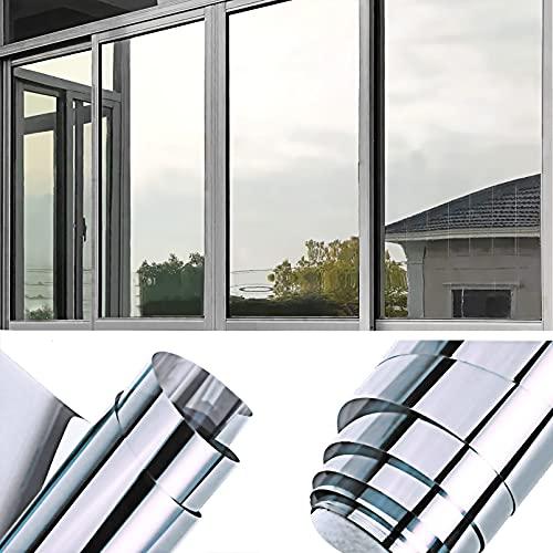 Sonnenschutzfolie Selbstklebend, BLAIKOYI 99% UV-Schutz Fensterfolie, Sonnenschutz Wärmeisolierung Spiegelfolie, One Way Spiegel Reflektierende Sichtschutzfolie (40*200cm)