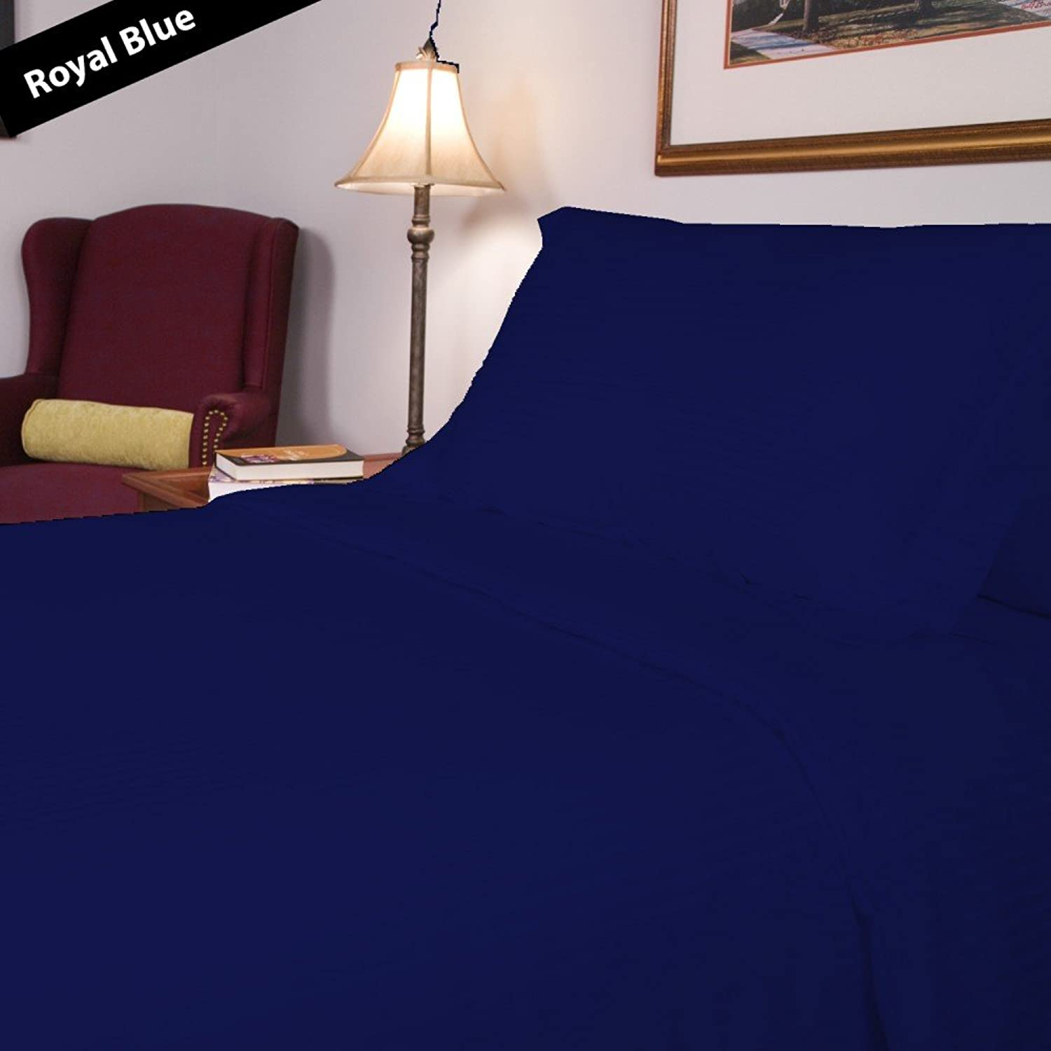 1 Piece Flat Sheet Stripe Pattern 100% Egyptian Cotton 400 Thread Count Available in 3 Different Sizes California King King Full & 26 colors (Full,Royal bluee).