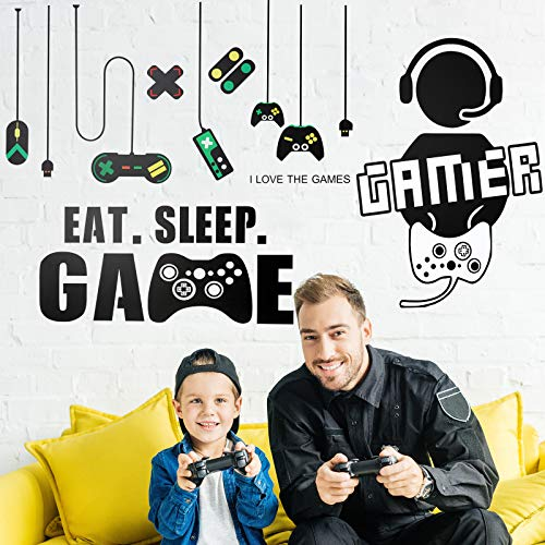 3 Sheets Game Wall Stickers Video Game Wall Decals, Vinyl Gaming Wall Stickers Eat Sleep Game Wall Decal for Boys Kids Men Bedroom Home Playroom (Combined Game Boy Style)
