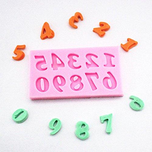 rongweiwang Silicona Números árabes de Hornear Molde de Hornear azúcar Fondant Arcilla Mano marrón Molde decoración de Pastel de decoración Molde
