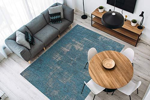 One Couture MD2-2436 Alfombra de Estilo Vintage con Aspecto Envejecido, para salón, Color Azul Turquesa y Gris, tamaño: 200 x 290 cm