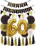 60th Birthday Party Decorations KIT | Happy Birthday Black Banner|...