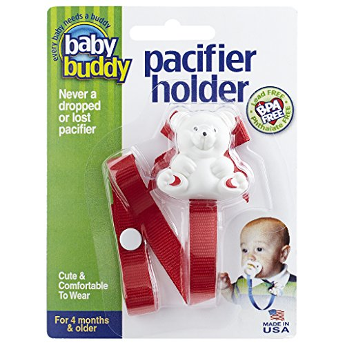 Baby Buddy Pacifier Holder Clip - Cute Fashionable Bear Clips onto Baby's Shirt, Snaps to Paci, Teether, Toy - For Babies 4+ Months - Pacifier Clip for Toddlers Boys & Girls, Red, 1 Count